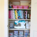clean closet, organize, sewing room organization